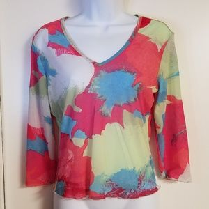 Express Multi Colored Sheer See Through Top